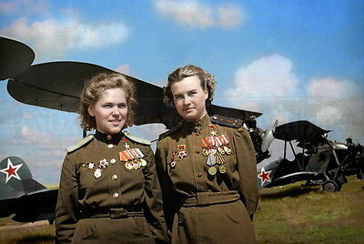 Soviet Air Force officers Gasheva & Meklin Russia photo photograph WW2 colorized