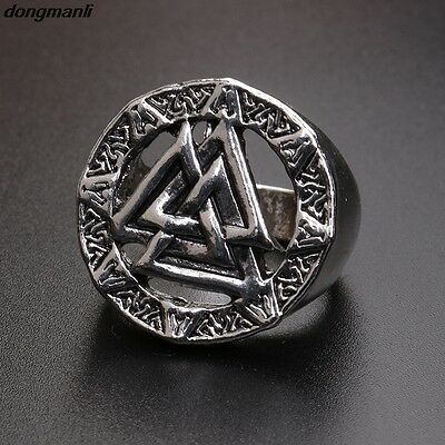 Valknut Odin 's dragon Symbol of Norse Viking Warriors silver ring Punk Gothic