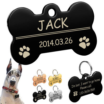 Bone Shape Pet Dog Tags Personalised Engraved Pet Puppy ID Name Tag 4 Colors S L