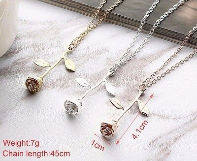 'enchanted' Rose Flower Gold Silver Rose Gold Necklace Xmas Gift Uk Seller