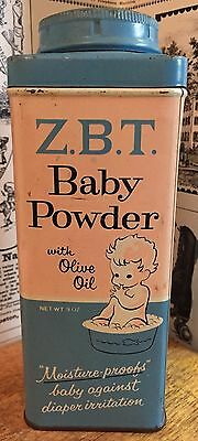 Vintage Z.B.T.  Baby Powder with Olive Oil Tin / Can - Sterling Drug - New York