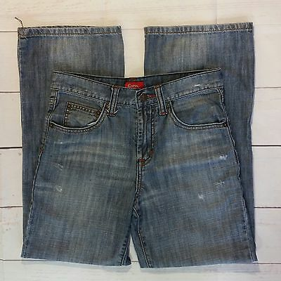 """GUESS Girl's Sz 12 Jeans Trouser Wide Leg Distressed Faded 100% Cotton 28""""W 26""""I"""