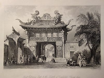 42 x!! China Motive- 1841 Original Print Engraving by T. Allom
