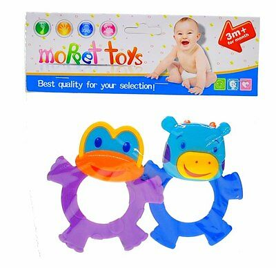 ON SALE 1x pack of 2 Baby Rattle & Teether 2in1 for Boys or Girls 3M+