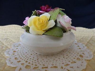 Antique Coalport Made in England Bone China Large Flower Bouquet Roses in Bowl