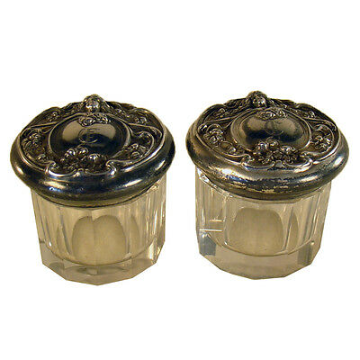 Victorian Cut Glass Jars with Lids (Pair)