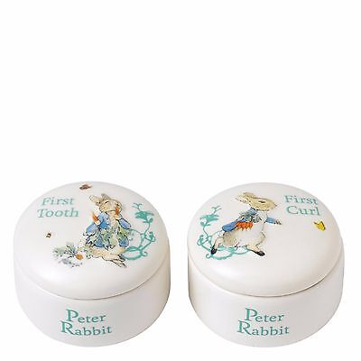Beatrix Potter Peter Rabbit First Tooth & First Curl Ceramic Gift Set BRAND NEW
