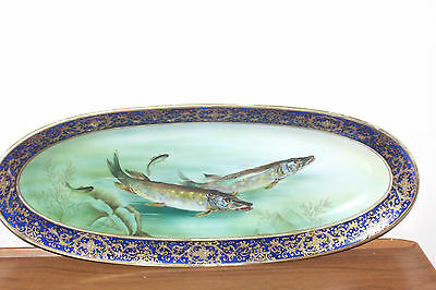 Vintage Japanese Large Oval Dish Hand Painted And Signed