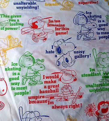 Vintage Charlie Brown Peanuts Gang Sports Twin Size Flat Sheet Fabric 66 x 94
