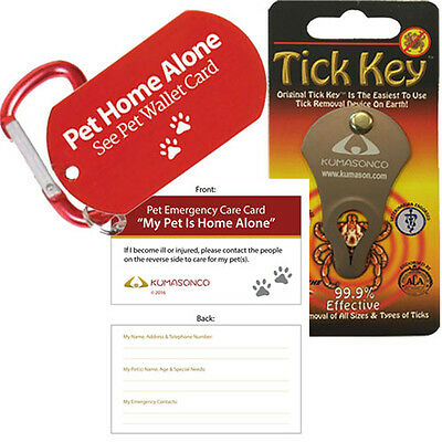 Tick Remover Key - Dog Emergency ID Tag - Pet Wallet Card - Laminating (Combo)