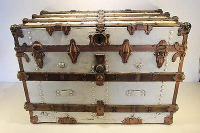 Victorian Flat Top Steamer Trunk Antique Chest w Eagle Lock No Key Brass Fitting