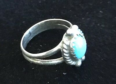 VINTAGE STERLING SILVER W/ TURQUOISE STONE RING, SOUTHWEST,OLD PAWN Sz 3