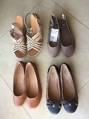 Women's Lot Of 4 Pair Of Shoes. Flats & Platforms. Size 8