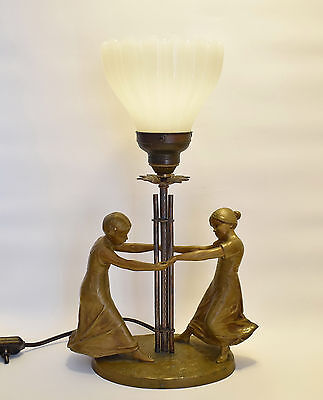 Antique French Art Nouveau Bronzed Spelter Figural Table Lamp Dancing Girls