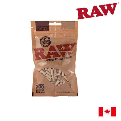 RAW Slim Unrefined Cellulose Filters 200pc - 1 Pack