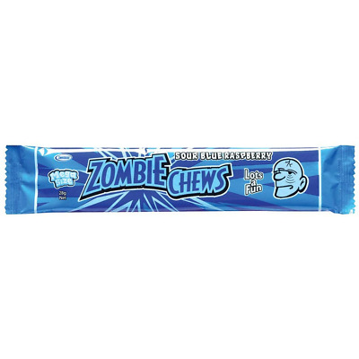 Zombie Chews Sour Blue Raspberry x 20 Mega Size 28g Candy Buffet Lolly Favors
