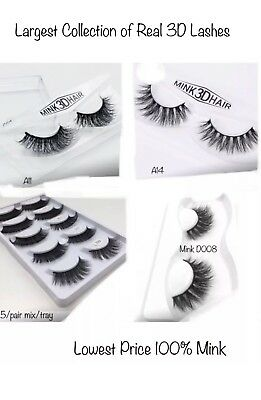 3D Mink Eyelashes Natural Thick False Fake Eyelashes hand made Makeup Extension