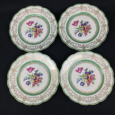 "Royal Bayreuth FOUR (4) 10 1/4"" Dinner Plates Gold Leaf Green Floral Tulip"