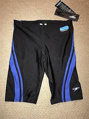 Boys Speedo Power flex Jammers Shorts Racing Swimsuit $49 Black Blue 26