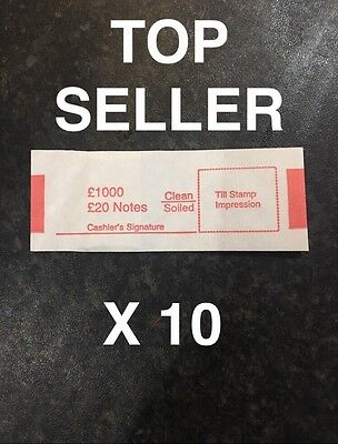 10 x £20 note money bands UK currency straps 1st class postage Holds 50 Notes