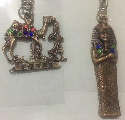 Lot of 2 Egyptian Antique Metal keychains Queen Nefertiti & Egyptian Camel - S3