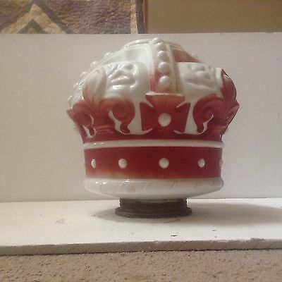 Vintage standard oil Red Crown gas milk glass globe