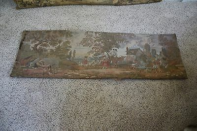 """Antique Tapestry Wall Hanging Art Victorian Country Village 53"""" X 17.5"""""""