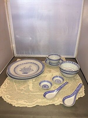 Antique CHINESE Blue & White Grains OF RICE Pattern Lot Of 10
