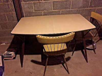 Mid Century Formica Dinette Table And Chairs with Bronze Hairpin Legs