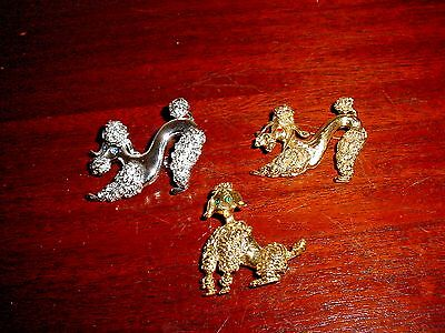 3 VINTAGE POODLE PIN BROOCHES DOG RHINESTONES GOLDEN & SILVERTONE PINS WORK ft