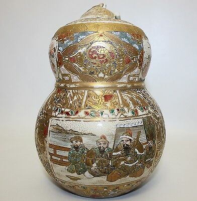 Beautiful Antique Japanese Satsuma Gourd Form Lidded Container Estate Find As Is