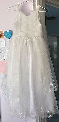 White Flower Girl Dress and Crown Set