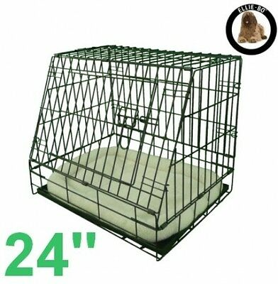 Sloping Dog Crate Puppy Cage Folding for Car Travel Small Black