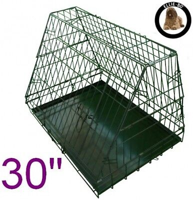 Sloping Dog Crate Puppy Cage Folding for Car Travel Medium Black