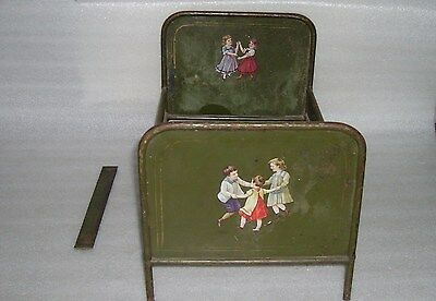Antique Vintage Doll's Hand-Painted Metal/tin Bed, Germany?