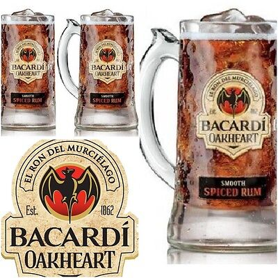 Bacardi Drinking Stein Oakheart Smooth Spiced Rum 14oz Beer Mug Glass 2X Glasses