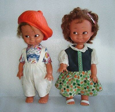 Vintage Pair Of Plastic And Rubber Dolls - Girl And Boy