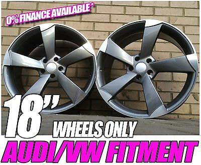 "18"" x4 New AUDI Style Alloy Wheels TTRS Rotor Style Black edition A3 A4 gunmetal"