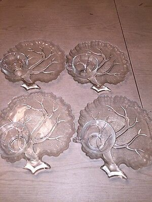 Set Of4 Indiana Clear Pebble Leaf & Twig Depression Glass Luncheon Plates/cups