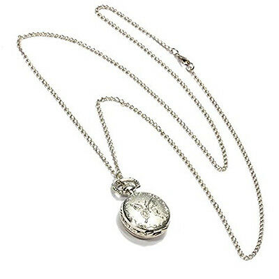 Silver Quartz Butterfly Arabic numerals Pocket Watch with Vintage Necklace E9F3