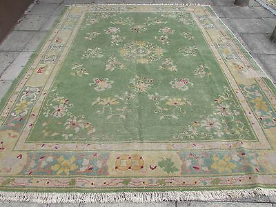Antique Shabby Hand Made Art Deco Chinese Oriental Green Wool Carpet 360x275cm