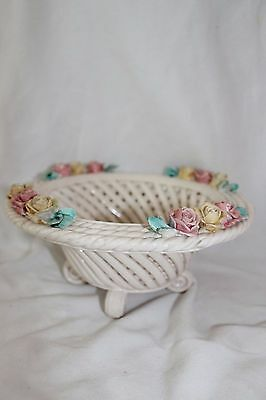 Vintage Hand Made Bowl, Basket Weave Pattern, Hand Painted, Italy, 8'' Across
