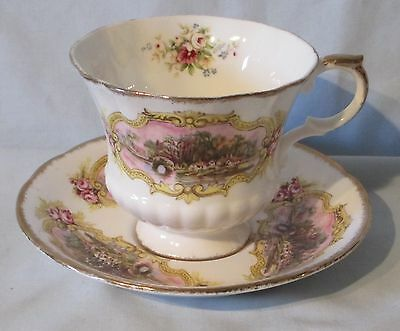 Paragon Chippendale English Cottage Scene white with gold trimCup & Saucer