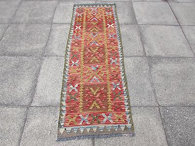 Old Hand Made Traditional  Afghan Tribal Wool Red Grey Kilim Runner 194x66cm