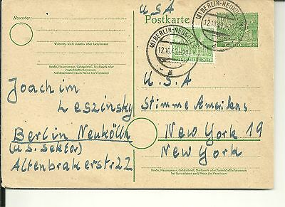 Germany Berlin 1949  Pc With Stationary & Adhesive Stamp To Usa (54)