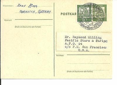 Germany 1962  Pc With Stationary & Adhesive Stamp To Usa (51)