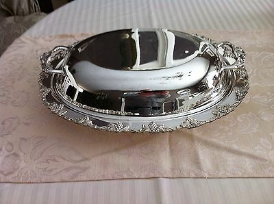 L. Bros Old English Reprodutions Silver Plated Double Sided Entree Dish