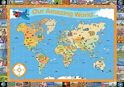 Children's Illustrated Map of the World - Educational, Classroom and Home A1