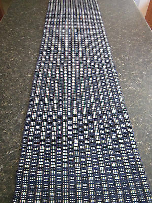 "Wonderful Navy Blue 13"" X 54"" Fringed Woven Cotton Table Runner - Euc"