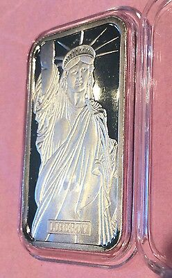 1982 Statue Of Liberty MTB 1 Troy Oz .999 Fine Silver Ag Collectible Vintage Bar